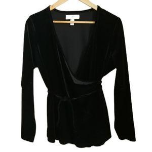 3/30$ ADDITIONNELLE Black Velvet Stretchy Wrap Top